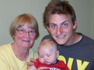 Sue Eggleston with her youngest & eldest grandsons