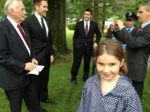My student, Katie, after shaking hands with Neil Armstrong